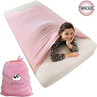 Sensory Compression Bed Sheet | Twin Size | Alternative to Heavy Weighted Blankets | Stretchy, Breathable, Firm Pressure for Calming & Relaxing Sleep | Pink