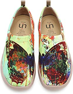 UIN Women's Butterfly Art Painted Canvas Slip-On Walking Sneakers Colorful Fashion Ladies Trave Shoes