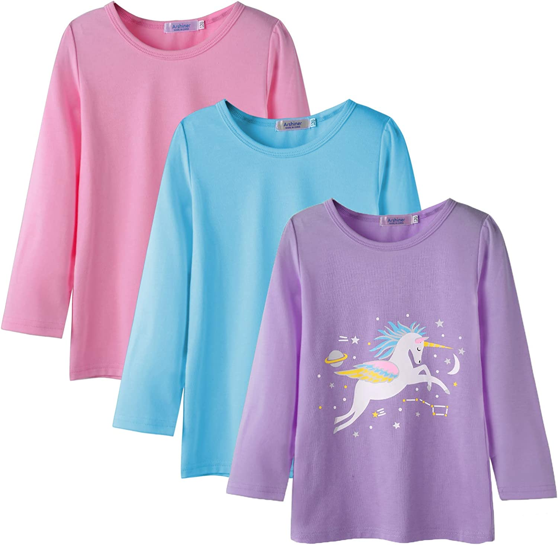 Arshiner Kids 3 Pack Long Sleeve Tees Girls Tees 3pcs Shirts for 4-12 Years