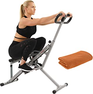 Sunny Health and Fitness Upright Squat Assist Row-N-Ride Trainer for Squat Exercise and Glutes Workout with Workout Cooling Towel