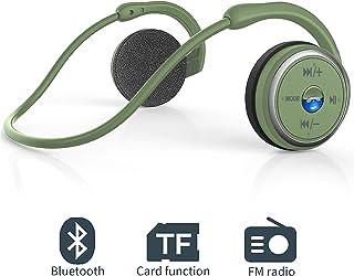 Auriculares Bluetooth 4.1, 3-en 1 Auricular Deportivo Plegable, Auriculares Inalámbricos con Micrófono, Soporte Tarjeta TF (32 G) y Radio FM, Hi-Fi Sonido Estéreo, para Smartphones (Verde)