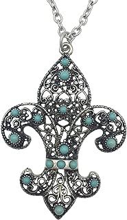 Gypsy Jewels Silver Tone Fleur De Lis on Long Silver Tone Chain Necklace
