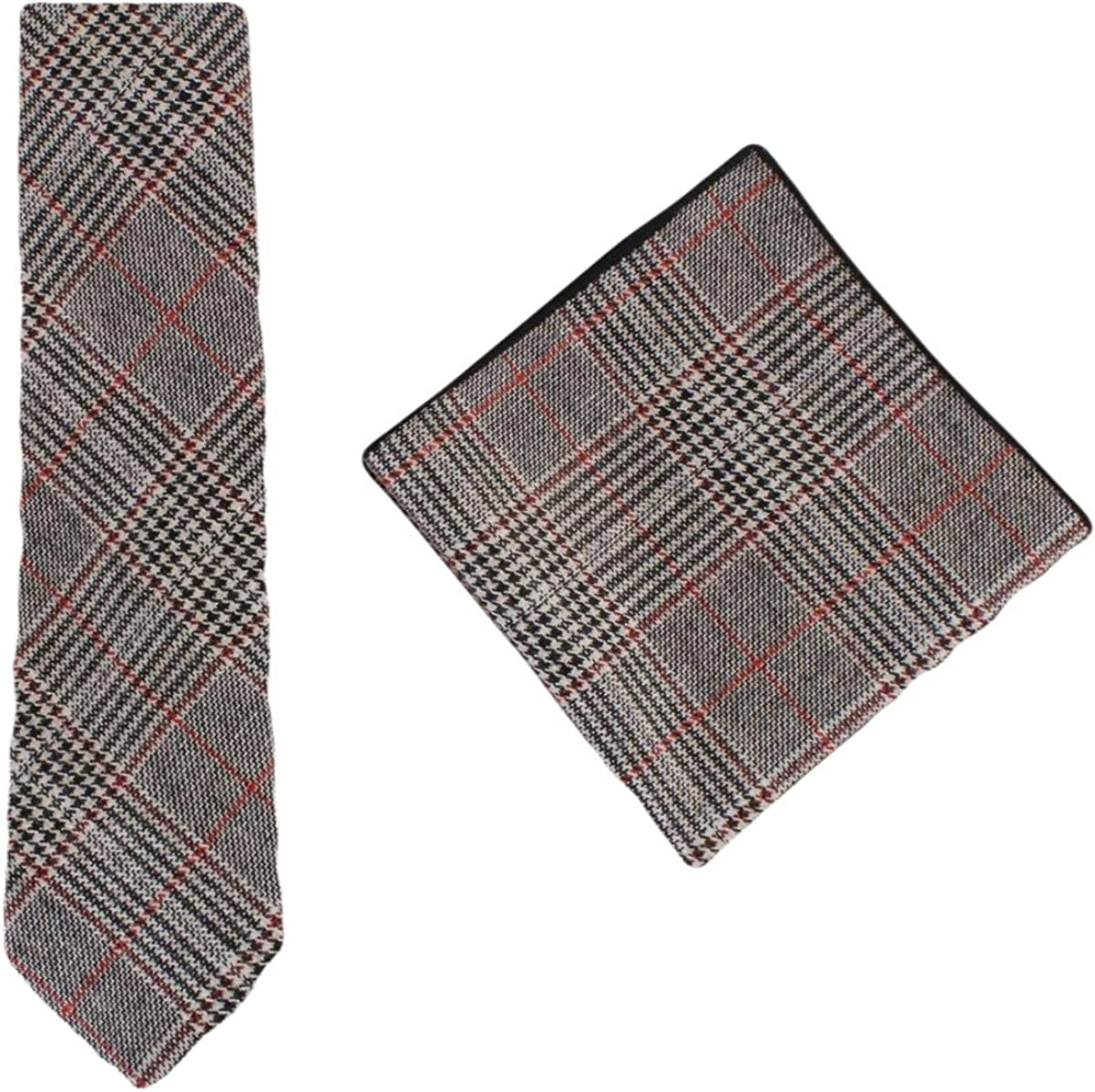 Knightsbridge Neckwear Mens Prince of Wales Check Tie and Pocket Square Set - Black/Red