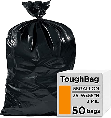 """lowest ToughBag 55 Gallon Trash Bags, 3 Mil Contractor Bags, Large 55-60 Gallon Trash Can outlet online sale Liners, Black Garbage Bags, popular 38 x 58"""" (50 COUNT) - Outdoor, Construction, Lawn, Industrial, Lawn, Leaf - Made in USA outlet online sale"""