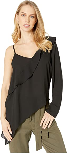 Asymmetric One Sleeve Woven Top