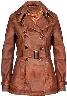 Ladies Leather Trench Coat Tan Mid Length Coat Classic Jacket