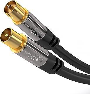KabelDirekt Antennenkabel – 3m (durchgäng. Schirmung, 75 Ohm, Koax Stecker > Koax Kupplung, Premium Koaxialkabel, TV, HDTV, Radio, KabelfernsehenDVB T, DVB C, DVB S, DVB S2, UKW, DAB, DAB+)