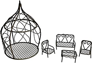 Assembled by PaBu GuLi Fairy Garden Accessories - Set with Rustic Looking Wire Gazebo and 4 Piece Micro Mini Patio Furniture Set