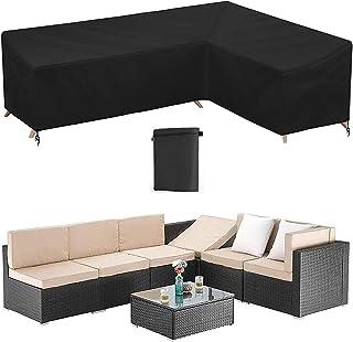 Housse Canapé Jardin en Forme L Housse Protection pour Canapé d'angle Extérieur Bâche Mobilier Terrasse en Forme L 210D Im...