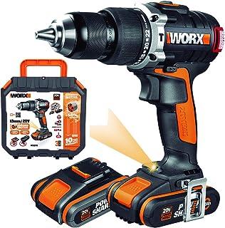 WORX WX373 Taladro percutor con 2 baterías de 2.0 Ah y Cargador, sin escobillas, 20 W, 20 V, Negro