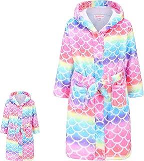 Rainbow Mermaid Bathrobes Matching Doll & Girls Kids Hoodie Robe Plush Soft Fleece Pajamas, Size 8 9