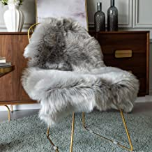 Carvapet Luxury Soft Faux Sheepskin Chair Cover Seat Pad Plush Fur Area Rugs for Bedroom, 2ft x 3ft,Grey