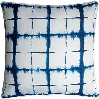 Black Velvet Studio Funda cojín Tie Dye 100% poliéster, Color Blanco y Azul. Estampado imitando el teñido Batik. 45x45 cm.