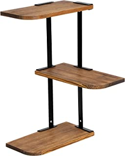 SONGMICS 3-Tier Corner Wall Shelf, Customizable Floating Mount, Rustic Solid Burned Wood and Metal, for Bedroom Living Room Study Kitchen ULSN04CB
