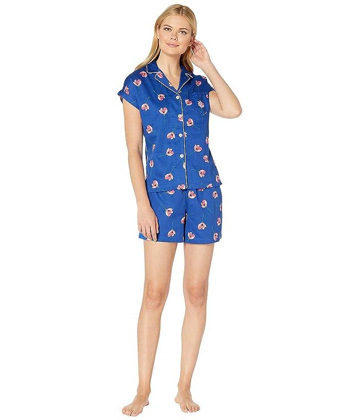 LAUREN Ralph Lauren Dolman Notch Collar Boxer Pajama Set (Blue Poppy Floral Print) Women