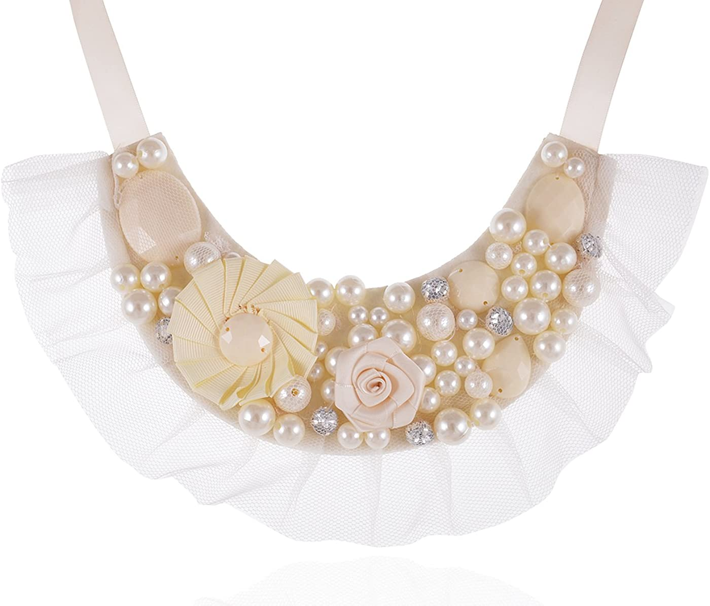 Alilang Women?s Girly Faux Ivory Pearls Floral Beads Gothic Lolita Bridal Costume Fabric Bib Collar Necklace
