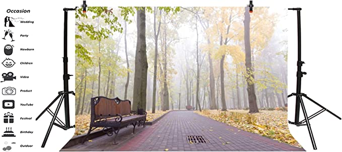 Morning Forest Park Road Backdrop Vinyl 8x6.5ft Autumn Foggy Wood Winding Brick Road Woonen Benches Yellow Fallen Leaves Background Autumn Scenic Child Baby Shoot Indoor Decors Wallpaper