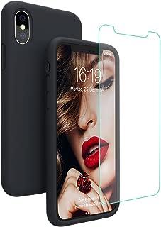 JASBON iPhone X/XS Hülle iPhone X/XS Silikon Handyhülle Schutzhülle Bumper Case Schutz vor Stoßfest/Scratch Cover mit Kostenfreier Schutzfolie für iPhone X/XS Schwarz