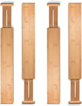 Bamboo Drawer Dividers Set of 4 Expandable Kitchen Drawer Separators Organizers Dividers Partitions 100% Organic Wood Durable Utensils Cutlery Flatware Storage Assembler Ideal for Kitchen Drawer