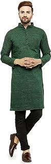 Enchanted Drapes Mens' Solid Cotton Long kurta