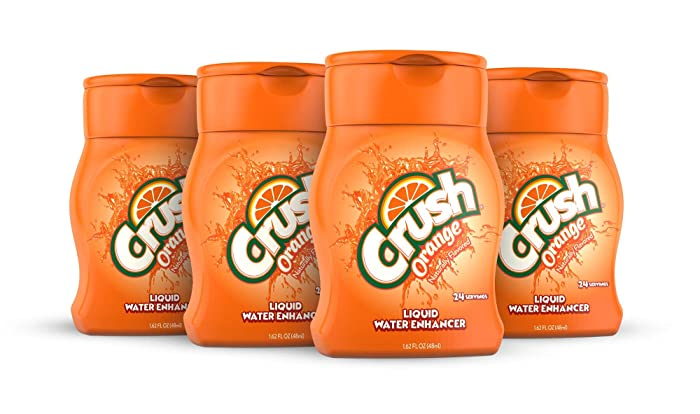Crush, Orange, Liquid Water Enhancer – New, Better Taste! (4 Bottles, Makes 96 Flavored Water Drinks) – Sugar Free, Zero Calorie