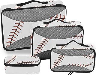 Sports - Juego de 4 Cubos de Embalaje con impresión de béisbol para Equipaje, organizadores de Viaje, Bolsa de Almacenamiento de Malla para Maleta