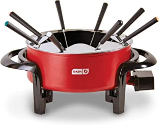Dash DFM100GBRD04 Electric Fondue Set with Nonstick Pot, 8 Colored Forks & Temperature Control for Cheese, Chocolate, Steak, Poultry, Seafood + More, 3 QT, Red