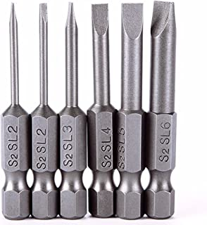 Rocaris 6pcs 2 in 2.0-6.0mm Flat Head Slotted Tip Magnetic Slotted Screwdrivers Bits Multifunctional Alloy Steel Screwdriver Set