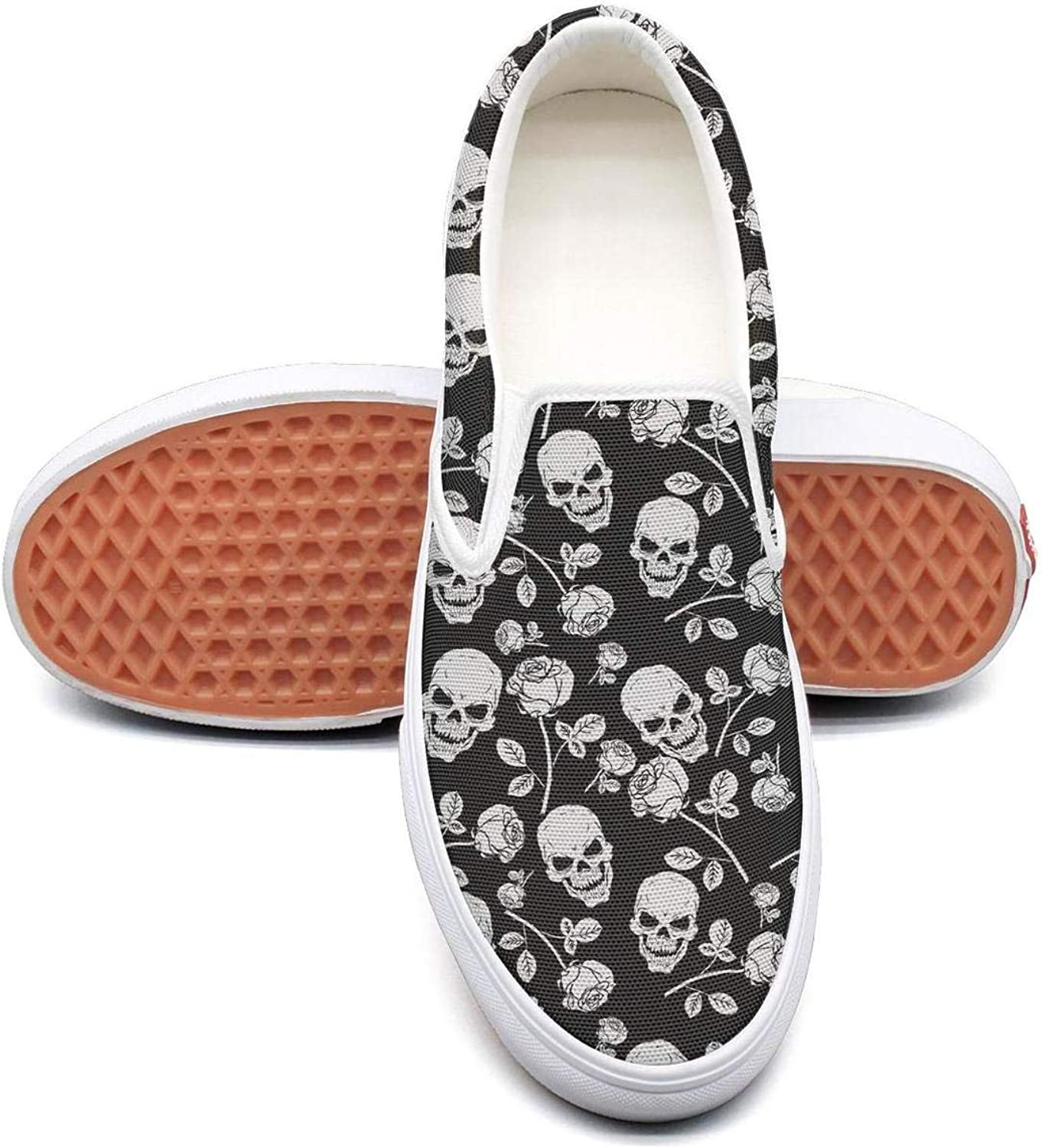 Uieort Pattern Skull Design Womens Slip On Sneakers shoes Casual