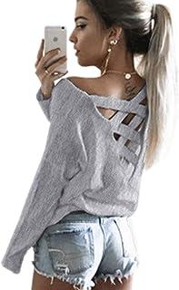 ECOWISH - Sudadera con cuello en V para mujer, suelta, sin espalda, estilo casual