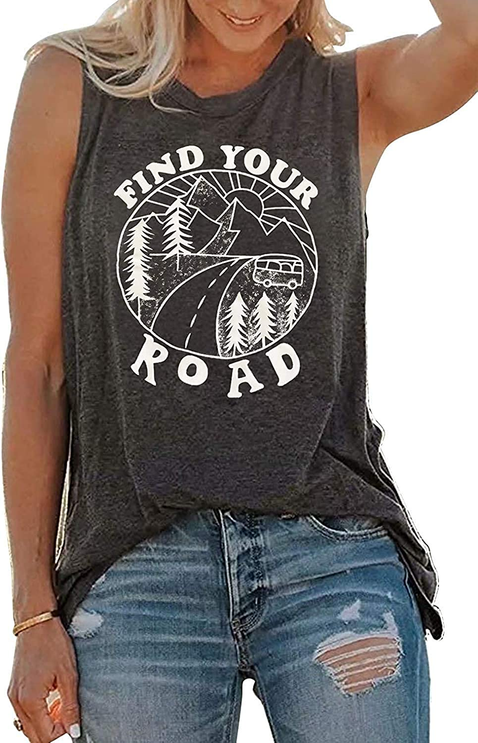 YEXIPO Womens Find Cheap Your Max 65% OFF Road Sleeveless Workout Funny Tops Tank