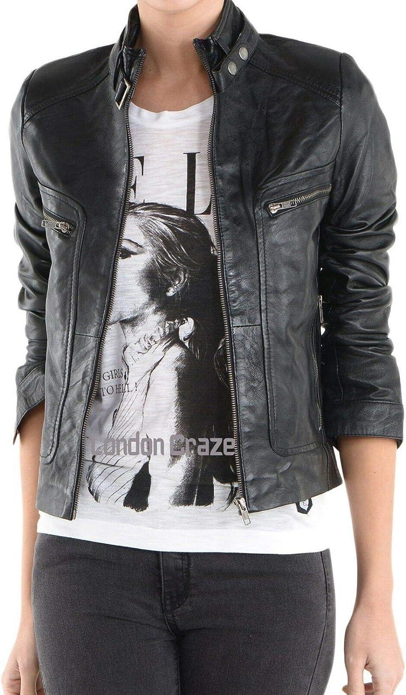 Women's Stylish Genuine Lambskin Motorcycle Biker Leather Jacket