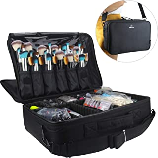 Relavel Professional Makeup Train Case Cosmetic Bag Brush Organizer and Storage 16.5 inches Travel Make Up Artist Box 3 Layer Large Capacity with Adjustable Strap Black