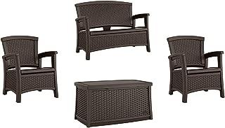 Suncast Elements Wicker Design Loveseat + Resin Club Chairs + Coffee Table, Java