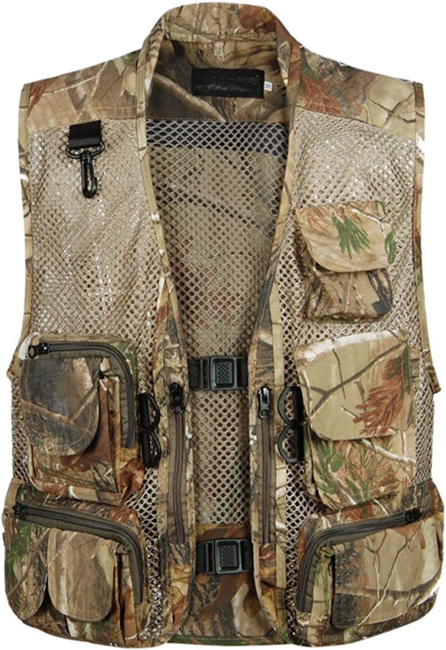 Zoulee New Men's Oversize Outdoor Photographers Director Vest with Multi Pockets Fishing Cotton Vest