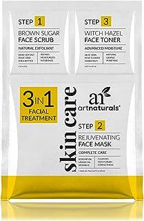 ArtNaturals Skin Care Face Mask Scrub & Toner (3 in 1 Set) Brown Sugar Scrub, Rejuvinating Facial Mask & Witch Hazel Toner...