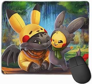 Pika Toothless ポケットモンスター マウスパッド 多用途の 耐久性が良い ゲーム オフィス用滑り止めラバー厚手マット 25X30X0.3Cm
