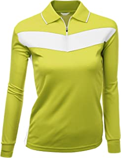 Xpril Mujer 2Tono Patrón Tejido Coolmax Polo Manga Larga Camiseta