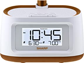 Sharp Projection Alarm Clock with Soothing Nature Sleep Sounds – Easy to Read Projection on Wall or Ceiling – 8 Sleep Sounds to Help Fall Asleep Faster