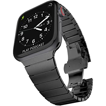 Surace Stainless Steel Link Bracelet Replacement for Apple Watch Band 44mm Series 4 Series 5 Series 6 with Butterfly Folding Clasp Compatible for Apple Watch Bands 42mm iWatch SE, Black