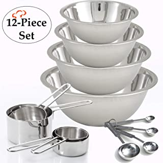 TigerChef 12-Piece Stainless Steel Measuring Cups and Measuring Spoon Set with 4 Mixing Bowls – Lifetime Guaranty