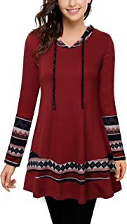 Casual Hoodies for Women with Pockets,Plaid Sweatshirts Flowy Tunic Long Sleeve Pullovers