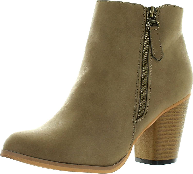 Reneeze BABA-02 Stacked Heel Zipper Ankle Booties - Khaki