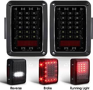 Smoked LED Tail Lights for 2007-2017 Jeep Wrangler Brake Reverse Light Rear Back Up Lights Daytime Running Lamps DRL