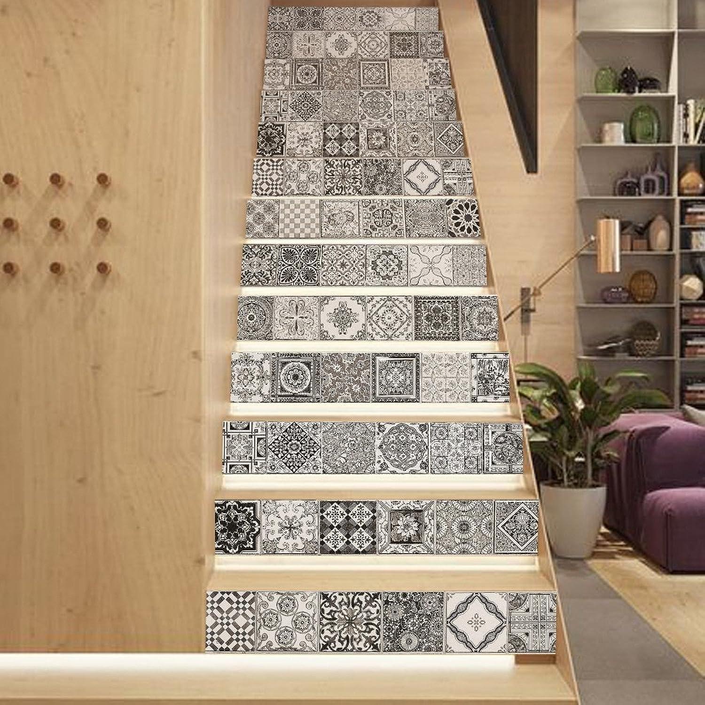 TIEZHI Europa-Stil 3D Treppe Aufkleber DIY schwarz und Weiß Retro-Stil Renovierung Treppe Selbstklebende abnehmbare Dekoration Kindergarten Aufkleber Papier 39.3 x7 x6pcs B07DVW95SZ | Authentische Garantie