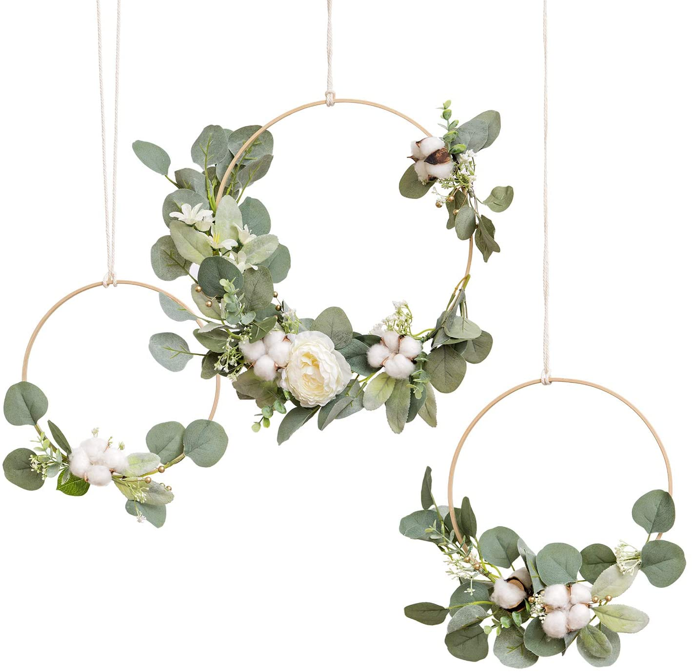 Ling's moment Eucalyptus Cotton Wooden for It is very popular Wedding Wreath New popularity Hoop
