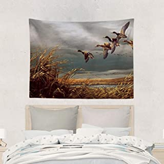 Jake Fashion Shop Hunting Flying Wild Ducks Tapestries Wall Art Hanging Tapestry, Beach Shawl Picnic Blanket Table Cloth Curtain for Room Divider Living Room Camping Home - 40x60