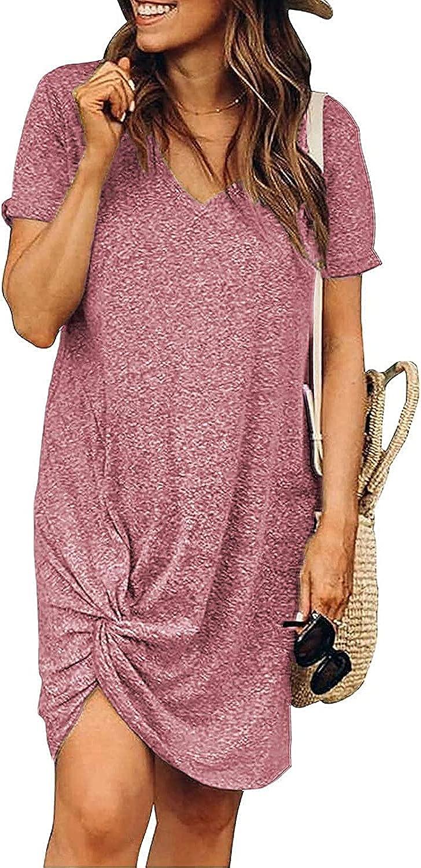 INIBUD Womens Twist Knot Tshirt Dresses Summer Casual Dress V-Neck Short Sleeve Dress