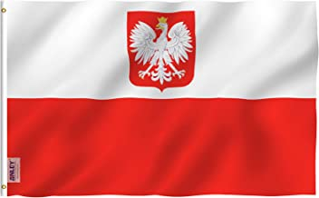 Anley Fly Breeze 3x5 Foot Poland State Ensign Flag - Vivid Color and UV Fade Resistant - Canvas Header and Double Stitched - Polish Eagle Flags Polyester with Brass Grommets 3 X 5 Ft