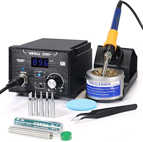 high quality YIHUA 939D+ Digital Soldering online sale Station, 75W Equivalent with Precision Heat Control (392°F to 896°F) and Built-in Transformer. ESD popular Safe, Lead Free with °C/°F display (Black) sale
